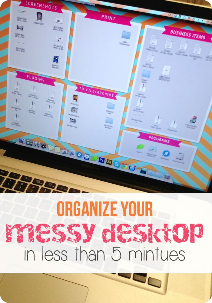 Organize your Messy Desktop by creating a custom desktop image.  Of course!  Why didn't I think of this?! ;)  Love it!  So easy and so cute!