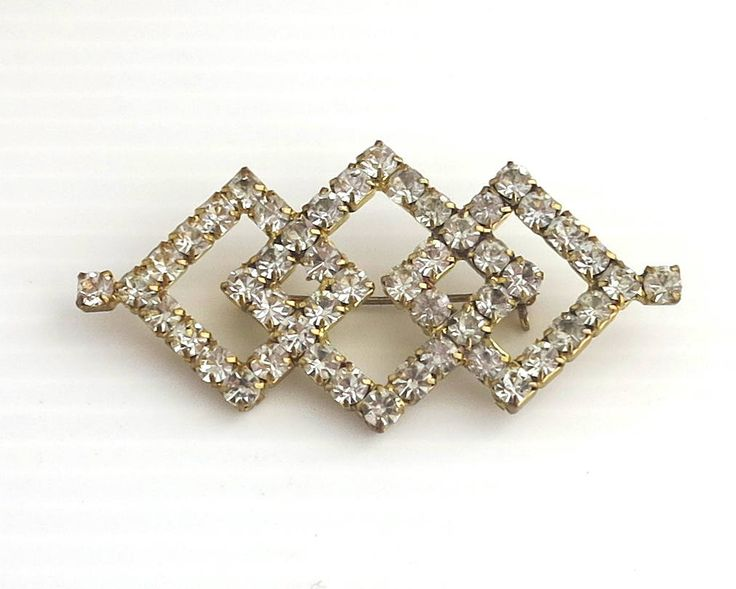 Large vintage rhinestone brooch with 3 intersecting diamond shapes, Art Deco style, clear rhinestones, gold plated setting, mid 20th century by CardCurios on Etsy