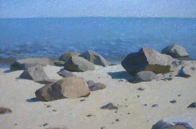 Stones.  Realistic oil landscape painting. 2010, oil on canvas on hardboard, 20x29.5 cm.