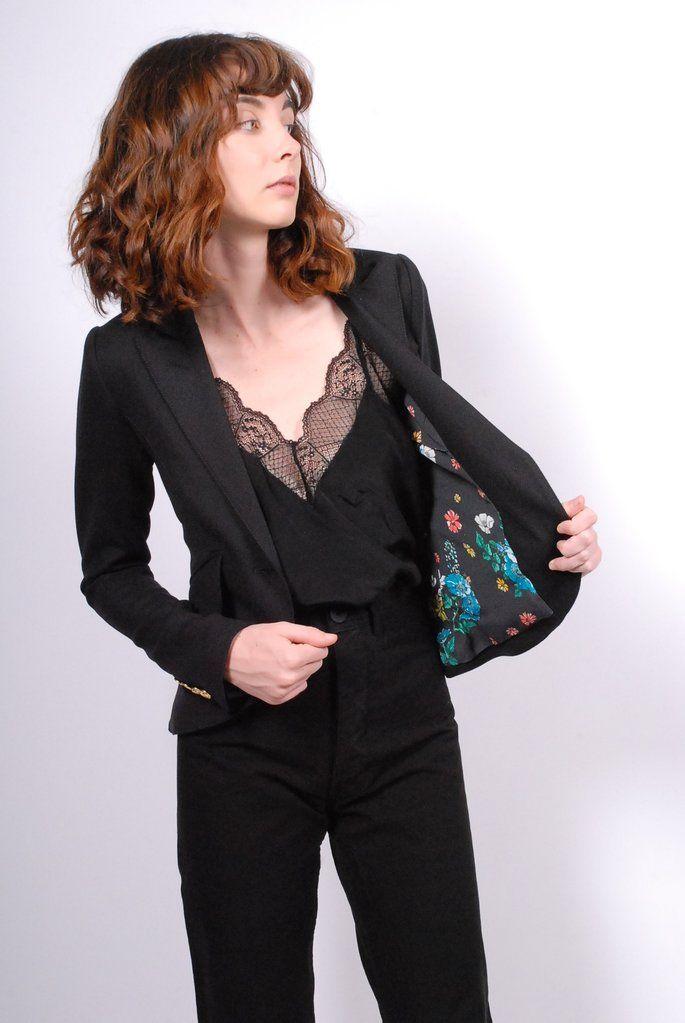 Smythe One Button Blazer- Black with Floral Lining