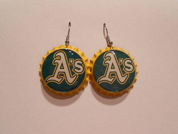 Oakland As bottle cap earrings