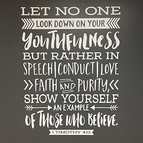 1 Timothy 4:12 Let no one look down on you Vinyl Wall Decal by Wild Eyes Signs, Teen girl, Teen boy, Wall Vinyl, Bible Verse, Scripture, wall decal, Youth room, 1TIM4V12-0004
