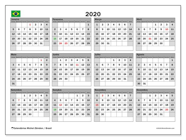 Calendario 2020 Com Feriados Portugal.Calendario 2020 Brasil Logos Calendario Para Imprimir