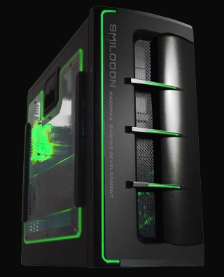 RAIDMAX SMILODON computer case with eerie green glow and side window.
