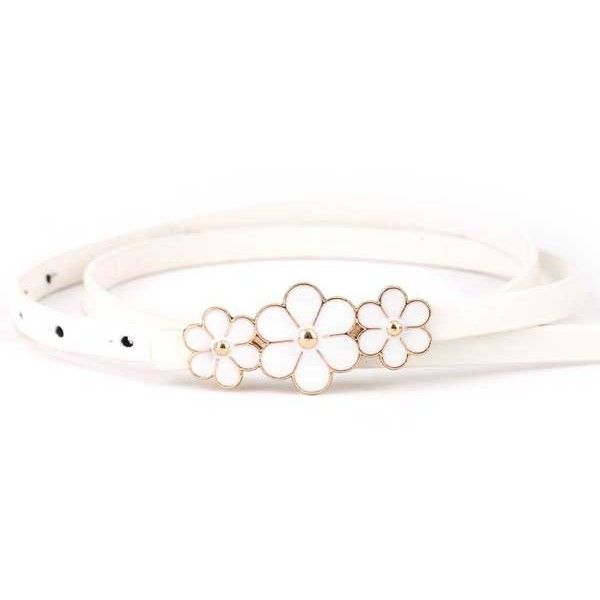 White Faux Leather Flower Decor Stylish Belt ($7.99) ❤ liked on Polyvore featuring accessories, belts, white, embellished belt, flower belt, vegan belts, white flower belt and faux leather belt