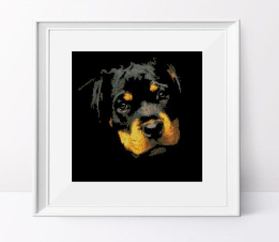 Rottweiler Puppy Cross Stitch Pattern Rottweiler Pdf Pattern Dog