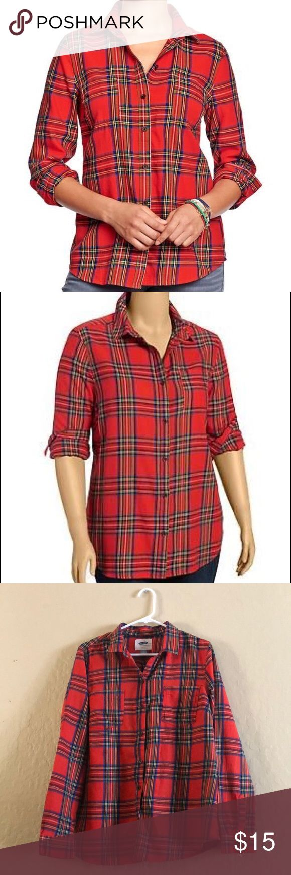 Old navy fleece plaid Old navy fleece plaid shirt, hardly worn. Cute to wear over a tank, or around the waist ☺️ Old Navy Tops Button Down Shirts