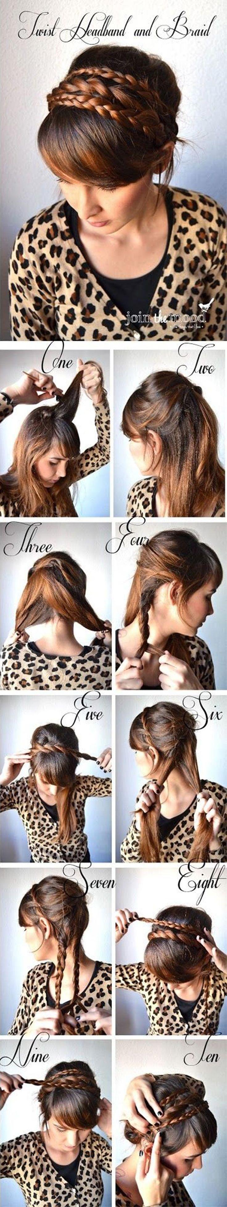 Upleťte si do vlasů čelenku z vlastních pramenů vlasů. U výčesu tak opticky vytvoříte nádherný falešný drdol.