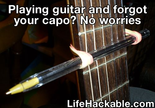 Guitar hack. I'm afraid to try it in case the rubber band snaps and the pen goes flying into me. Lol