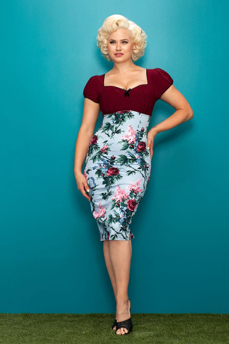 Pinup Couture Mary Ann Retro Dress in Blue Floral Print | Pinup Girl Clothing