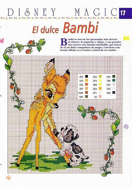 Dolce Bambi con tenero cucciolo da ricamare - magiedifilo.it punto croce uncinetto schemi gratis hobby creativi