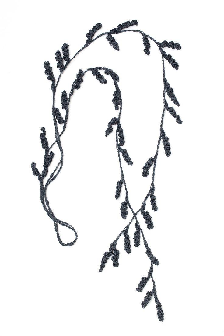 Tendril Lariat Necklace - Graphite • Crochet • Designed by Kelli Ronci for CORDA
