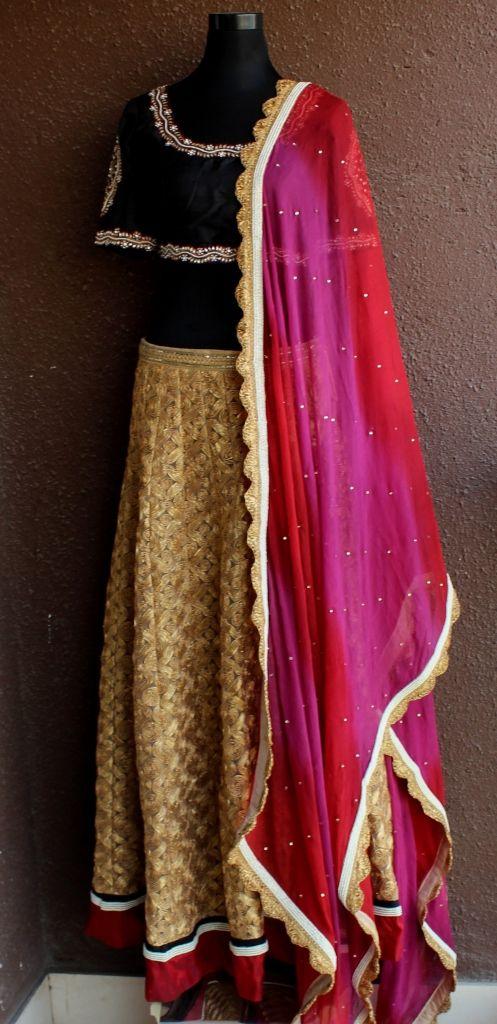 PSL53 : Black & Gold lehenga by Priti Sahni : a beautiful choice for your sangeet or mehendi  For bespoke bridal please contact Whatsapp : +91 - 9022 617 481 email : info@pritisahni.com