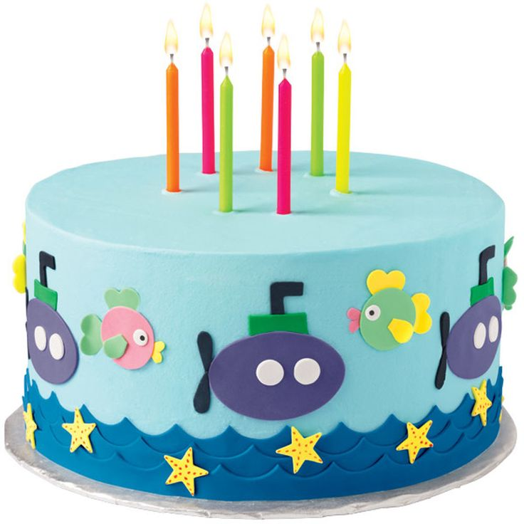 With an assortment of sea friends and a fleet of submarines, your guests will plunge into this cake! From the fish to the starfish to the waves, all the great details are made with colorful Sugar Sheets!