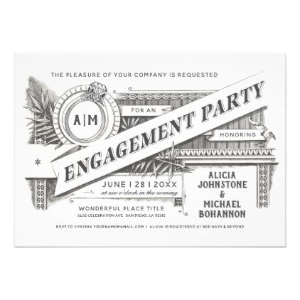 Supreme Vintage Engagement Party Invitations - shower gifts diy customize creative