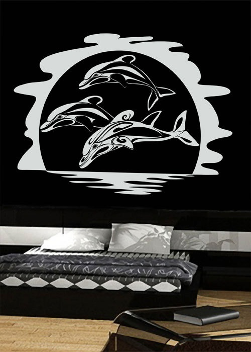 Tropical dolphins vinyl wall decals murals stickers by for Dolphins paradise wall mural