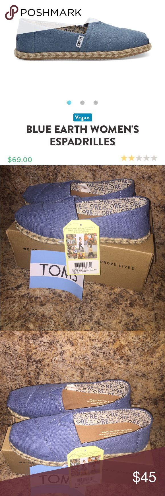 """🆕 Toms Classic In celebration of Mother Earth, these Classic Alpargatas are made from hemp and recycled polyester. So go explore the world in them—the molded insole will keep you comfortable. 77% hemp 23% recycled poly blue upper Traditional Alpargata style with elastic """"V"""" for easy fit Natural jute rope sole Molded removable insole, cotton twill sock liner fights bacteria Vegan TOMS Shoes Flats & Loafers"""