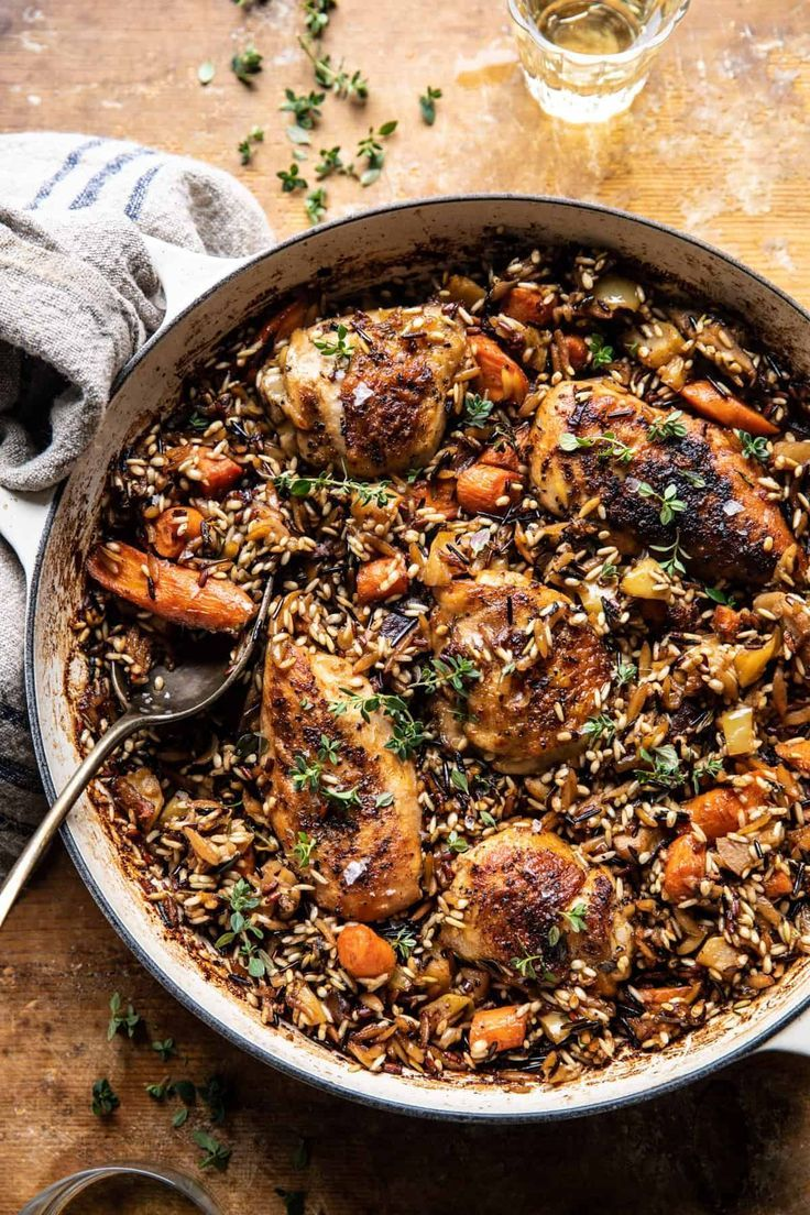 One Pot Lemon Rosemary Dijon Chicken And Butter Toasted Rice Pilaf Half Baked Harvest Recipe Half Baked Harvest Recipes Harvest Recipes One Pot Meals