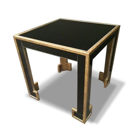 Gilt Metal and Black Glass Side Table