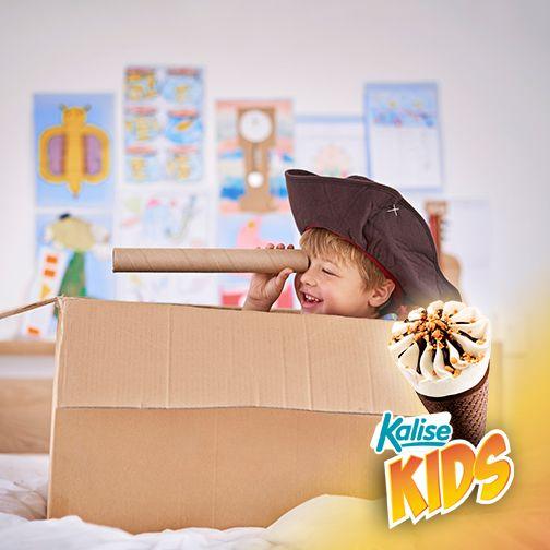 Niños que dejan volar su imaginación buscando #islasKalise ¡Kalise, el helado de las islas!