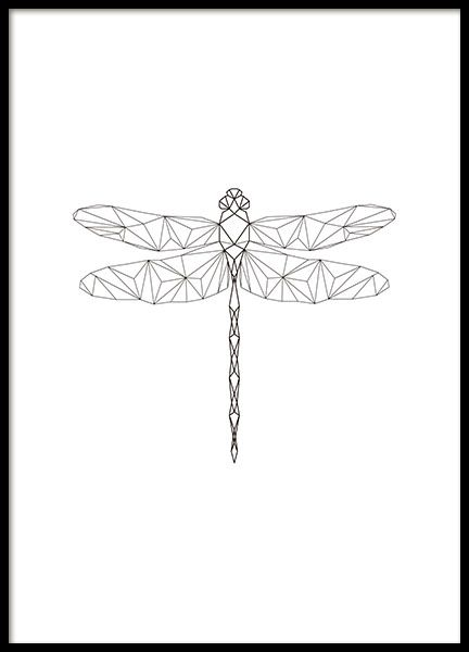 Beautiful print of a geometrical dragonfly. This poster goes well with our other geometrical motifs and is suitable for any interior style. Looks just as nice hanging on the wall or standing on a shelf. Click here for inspiration on how to put together your own art wall collage. www.desenio.com