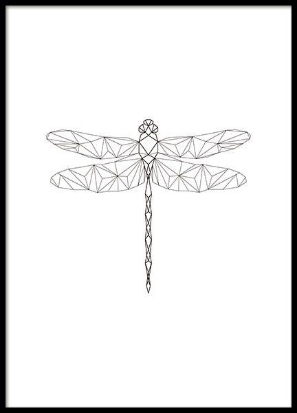 Poster mit geometrischem Libellenmotiv. Dieses Poster passt ausgezeichnet zu unseren anderen Postern mit geometrischen Motiven und in alle Einrichtungsstile. www.desenio.de