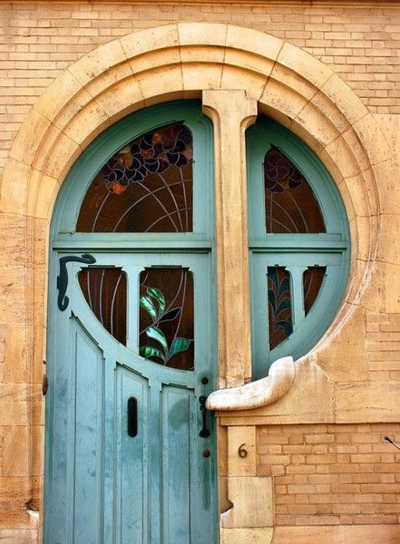 An amazing Art Nouveau style door and window.: The Doors, Art Nouveau, Doors Design, Blue Doors, Front Doors, House, Art Deco, Stains Glasses, Cool Doors