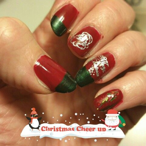 Cristmas Eve 2015. Winter berry by China Glaze, Laughin' to the bank by Deborah Lippmann and Tinsel by Orly