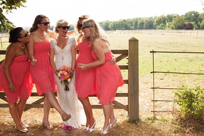 bride and bridesmaids herons farm