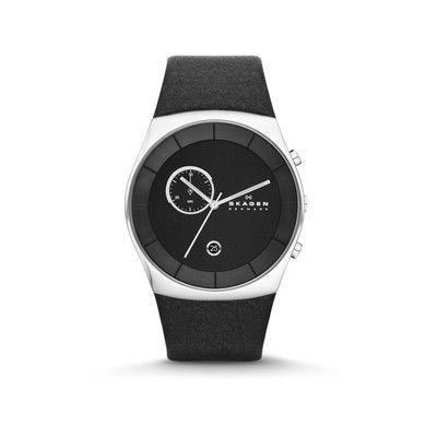 Montre Skagen, homme, mouvement à quartz, date, boitier rond acier, diamètre 42 mm, cadran noir, bracelet cuir, étanche 5 ATM.