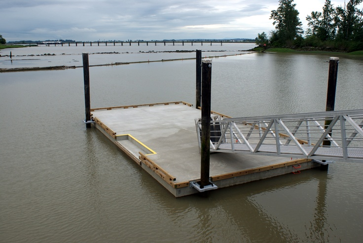 Concrete Floating Dock with step down area for kayak launching