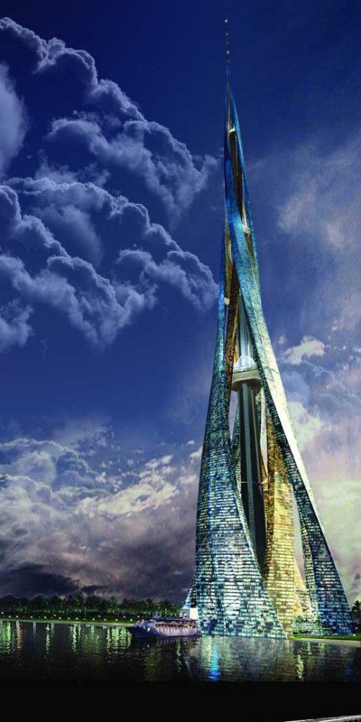 Dubai City Tower, Dubai. A four hundred-story building envisioned in Dubai that would be a towering 7,874 feet tall. It would be seven times taller than the Empire State Building and four times taller than the Burj Khalifa, the current tallest building on Earth.