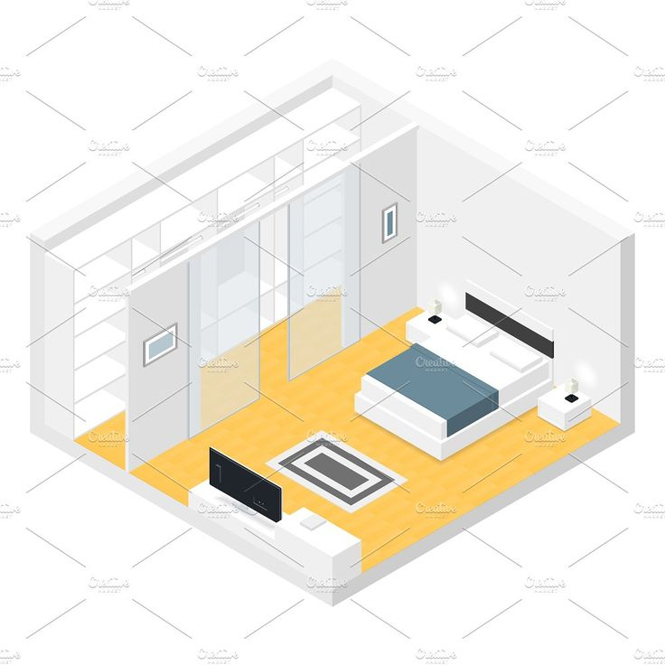 Bedroom isometric set by Equipoise on @creativemarket