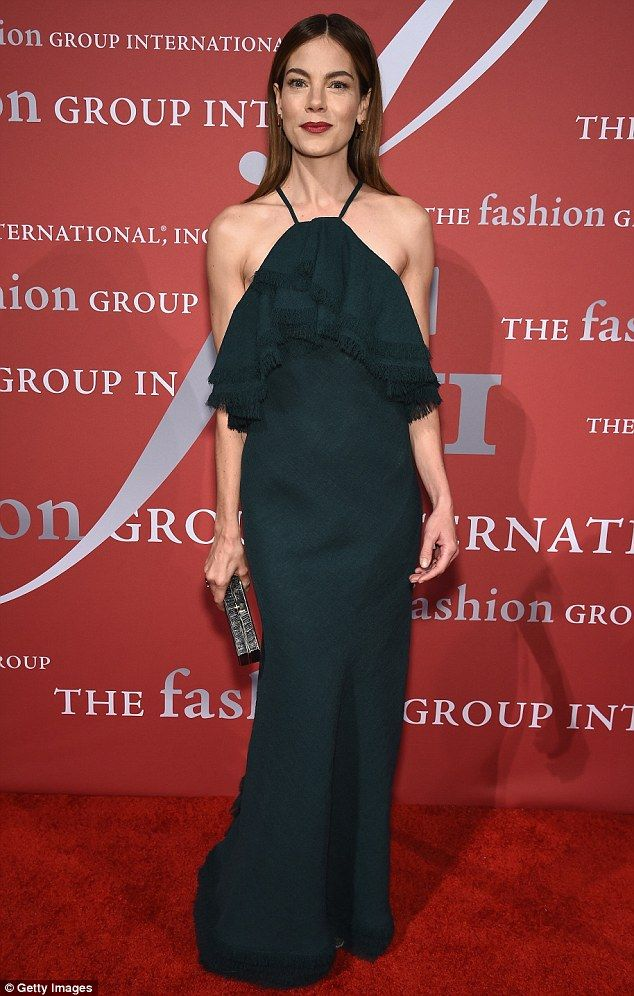 Serene in green: Actress Michelle Monaghan wore an evergreen halterneck gown by Jason Wu...