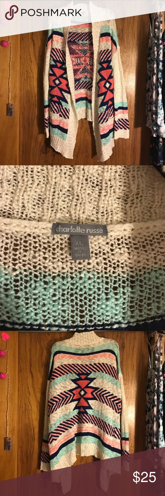 Charlotte Russe Aztec Sweater This is a super cute sweater from charlotte russe! It has been worn a couple times, but it is well taken care of and looks brand new! No snags or holes or tears. It is a size XL. Charlotte Russe Sweaters Cardigans