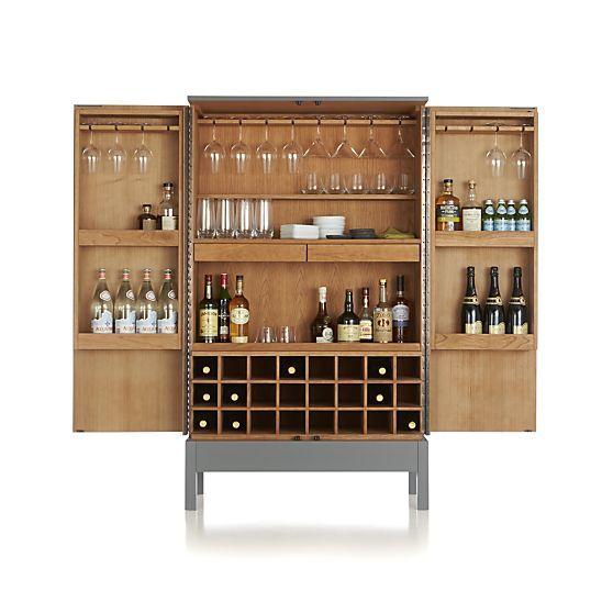 victuals grey bar cabinet in bar cabinets u0026 bar carts crate and barrel