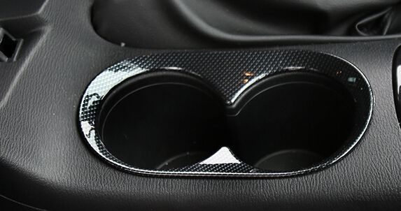 carbon fiber Arm Box Water Cup Cover Trims   for Mazda 3  2014 2015 2016