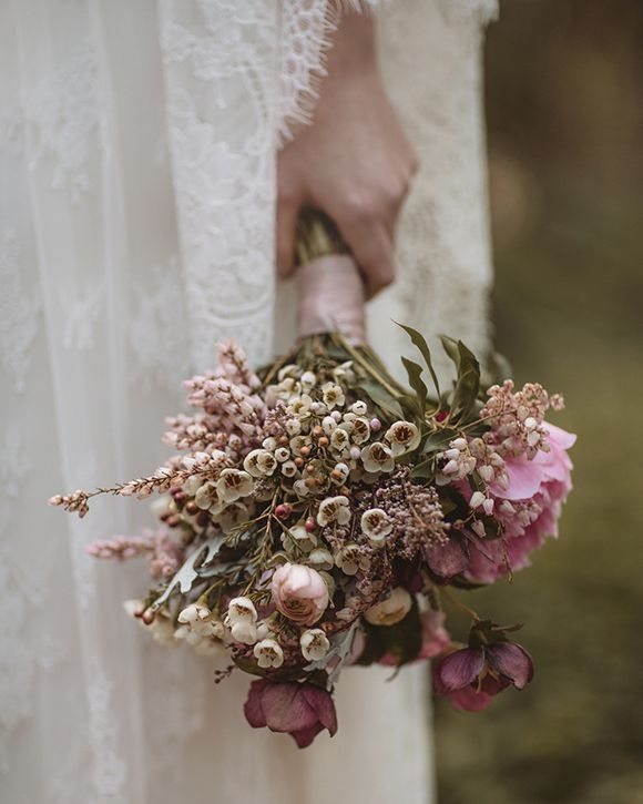 Pale pink and rustic style wedding bouquet.  Bridal Inspiration by Rue de Seine