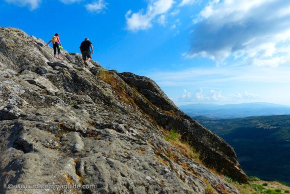 Roccatederighi in Maremma Tuscany Italy: climbing to the top of the rock for the view.