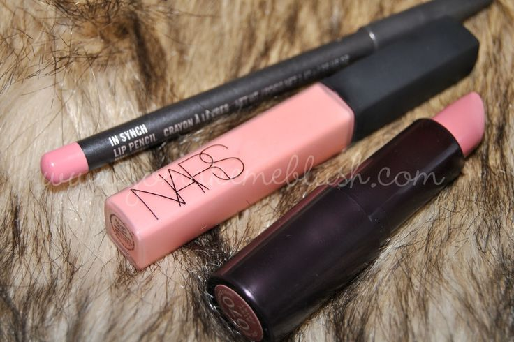 MAC In Synch lip pencil / Nars Turkish Delight gloss / Rimmel Airy Fairy lipstick