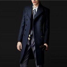 Estilo de inglaterra otoño invierno abrigo hombres de Color sólido para hombre alta calidad largas chaquetas y abrigos de doble botonadura de lana mezcla para hombre
