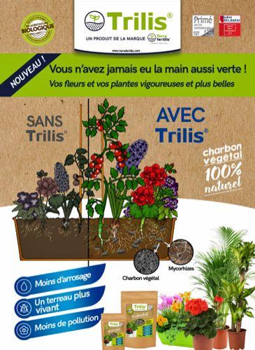 Trilis® s'utilise très facilement en mélange à la terre de plantation. Grâce à son origine végétale et au processus de pyrolyse du bois dont il est issu, Trilis® a d'une part la propriété de fixer les nutriments apportés au sol et de retenir abondamment l'eau.