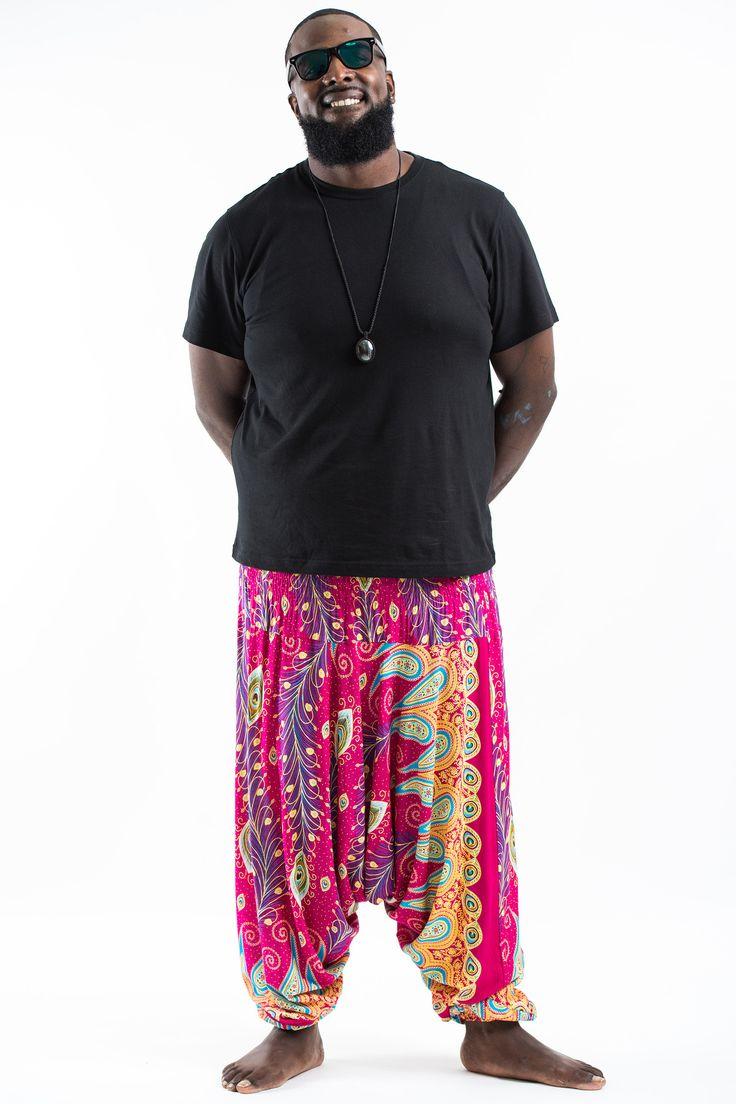 Plus Size Peacock Paisley Drop Crotch Men's Harem Pants in Pink