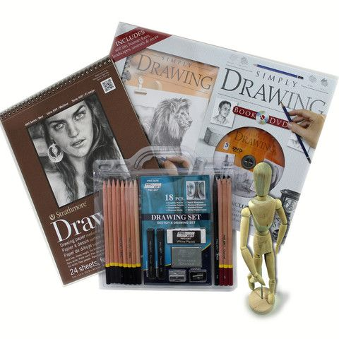 Drawing Set with Sketch Charcoal Graphite Pencils, Mannequin, Strathmore Drawing Pad, DVD with Instruction Book
