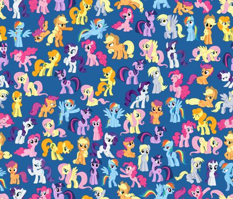 My little pony blue insomniac designs spoonflower for Kids horse fabric
