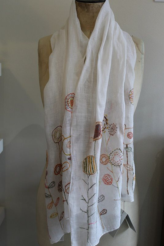 The creatory - Cool sheer Sophie Digard wrap. The hand embroidery is gorgeous. http://thecreatory.com/journal/all-about-linen-new-scarves-from-sophie-digard/