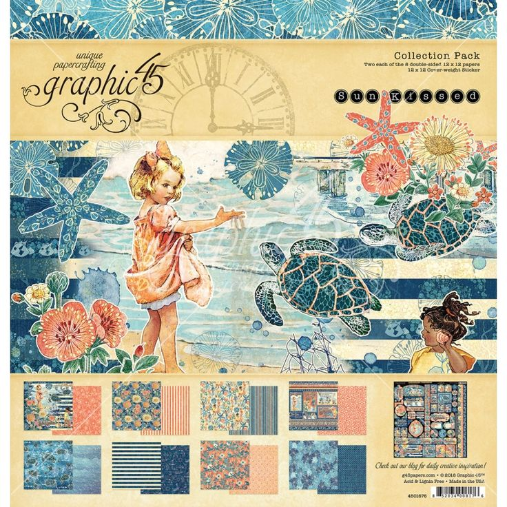 Graphic 45 Sun Kissed Collection themed around beach life, ocean life & childhood memories of carefree days by the sea. Perfect for lots of home decor projects, scrapbooking, collage and cards.