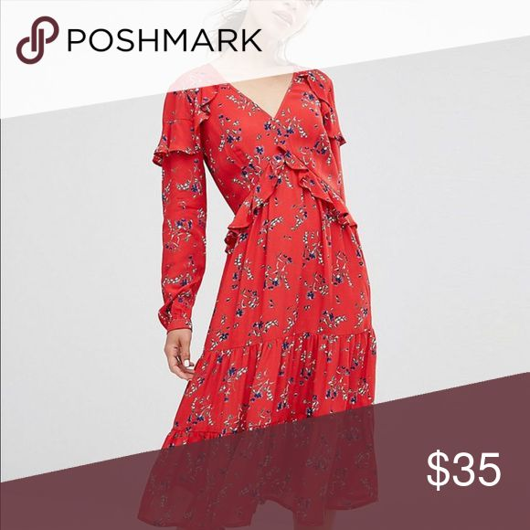 NWT ASOS VNeck Ruffle Midi Dress In Vintage Floral ASOS V Neck Ruffle Midi Dress In Vintage Floral. Pretty red with floral print. 16 petite, by definitely would work as regular length too! Long sleeve. NWT ASOS Dresses Midi