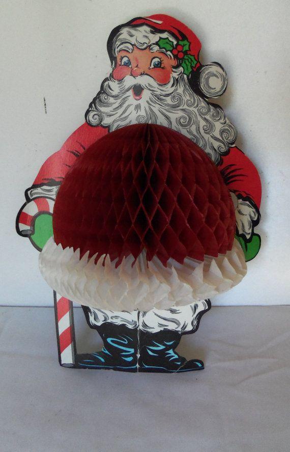 Vintage Santa Claus Honeycomb Die Cut Beistle By Berryetsy