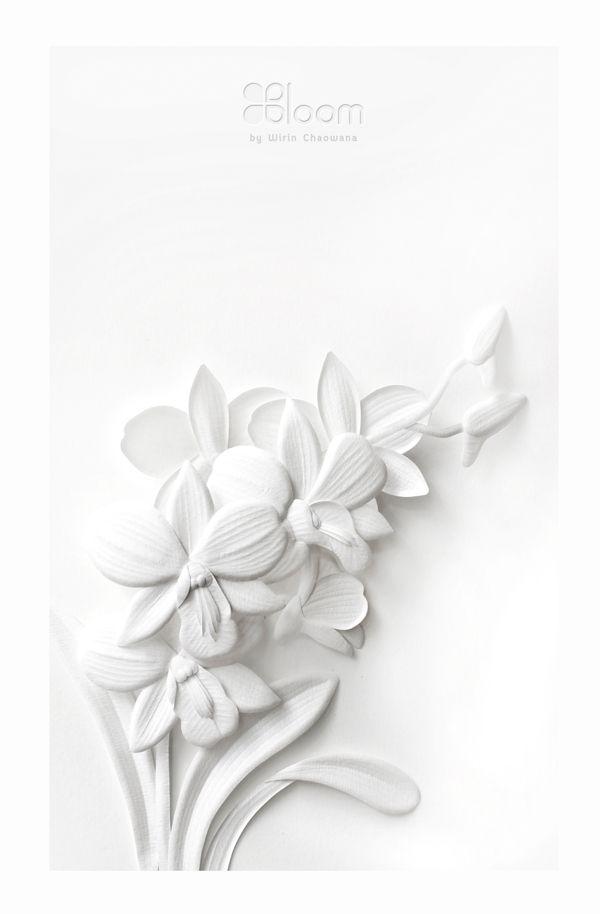 Paper Sculpture : White Thai Flowers by Wirin Chaowana, via Behance